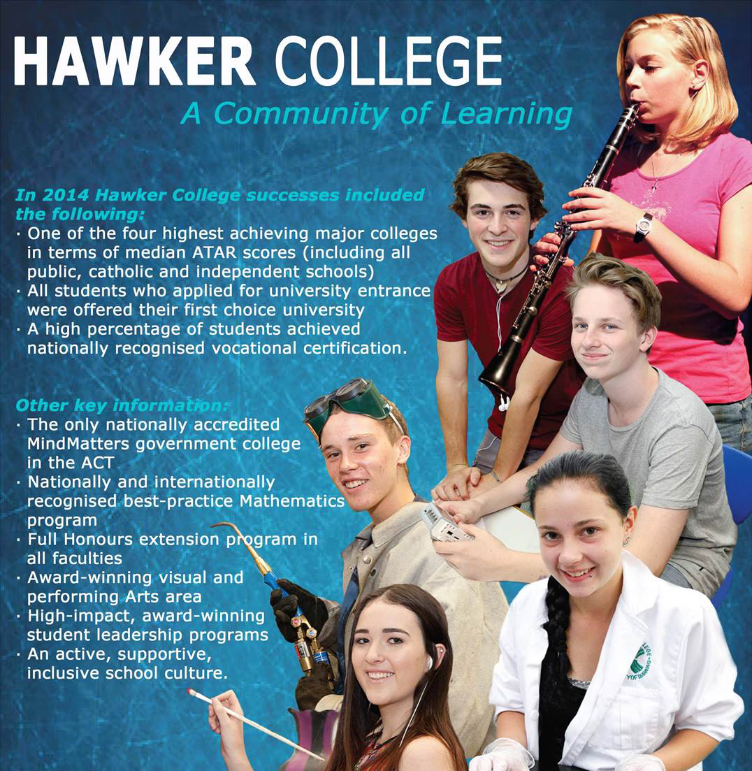 Hawker College is a community of learning. This picture shows a group of students in different job trades. Hawker College has an active, supportive, inclusive school culture.